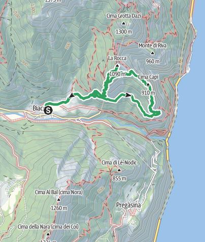 Karte / Biacesa - Via Ferrata Cima Capi - Via Ferrata Mario Foletti / Susatti - Cima Rocca - San Giovanni - Biacesa