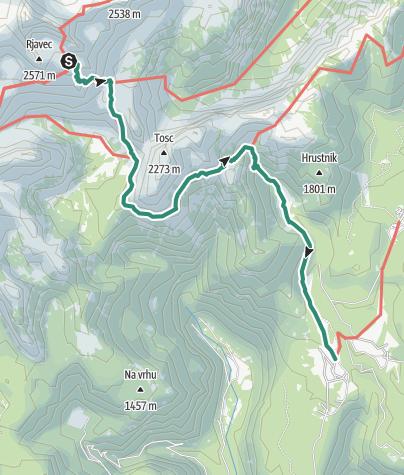 Karte / Abstieg: Dom Planika (2401m) - Uskovnici-Hütte (1154m) - Bohinj-See