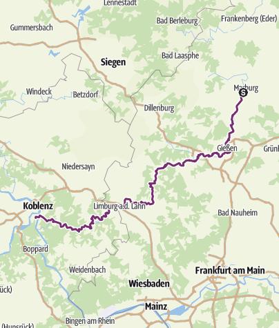 Carte / Radwandern an der Lahn - Von Marburg nach Kolenz