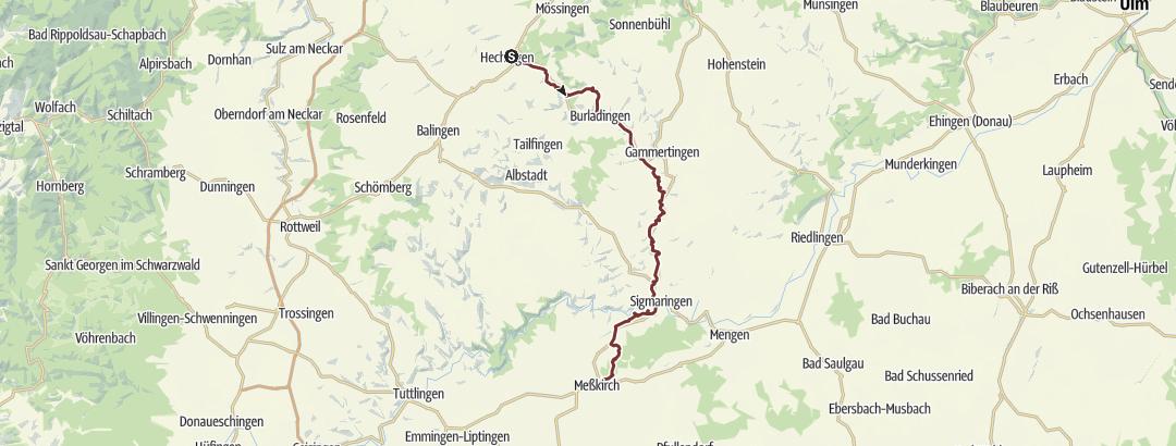 Cartina / Hohenzollerischer Jakobsweg von Hechingen nach Meßkirch