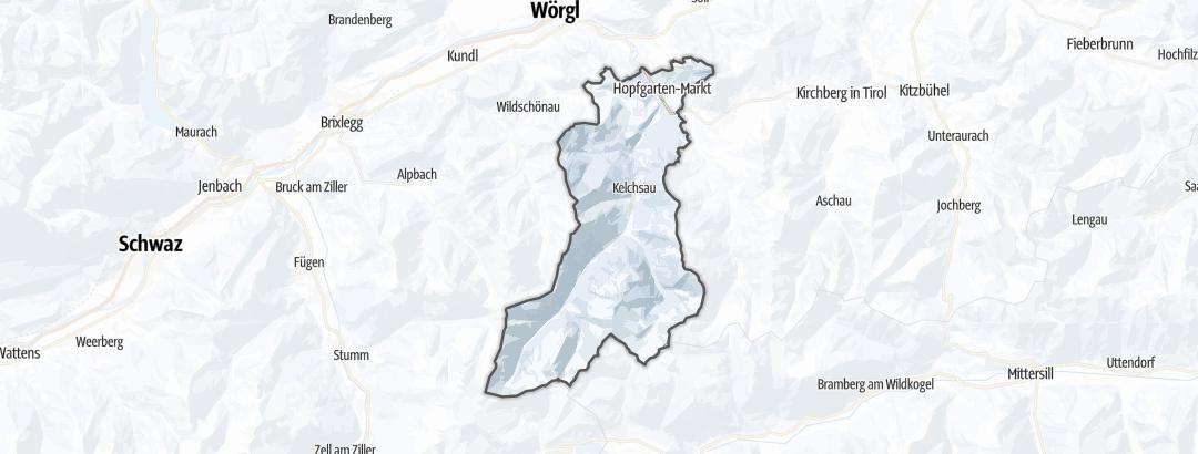 Map / Long distance ski touring routes in Hopfgarten im Brixental