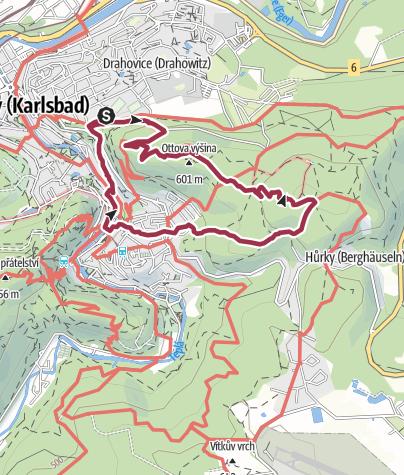 Karte / Aussichtspunkte über Karlsbad/CZ