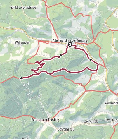 Karte / Von Altenmarkt an der Triesting (Ö) zum Schutzhaus Hocheck Rundwanderung