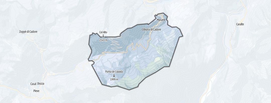 Mapa / Rutas de senderismo de invierno en Cibiana di Cadore