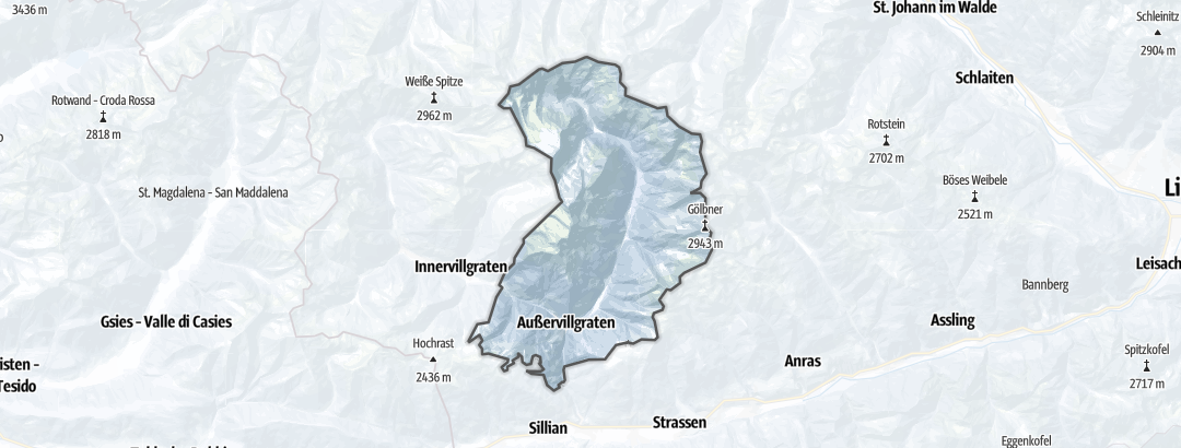מפה / טיולי סקי רגליים ב Außervillgraten