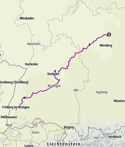 Karte / Jakobsweg 2013 von EBS nach Freiburg i. Br.