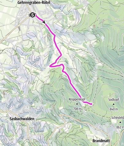 Karte / hornenberg-Hohritt via Lautenbächle