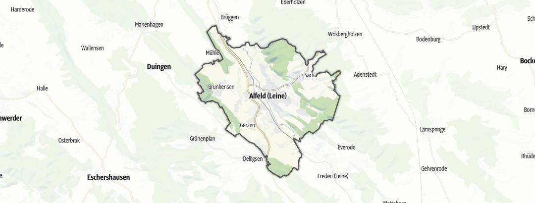 Kartta / Maantiepyöräilyreitit kohteessa Alfeld (Leine)