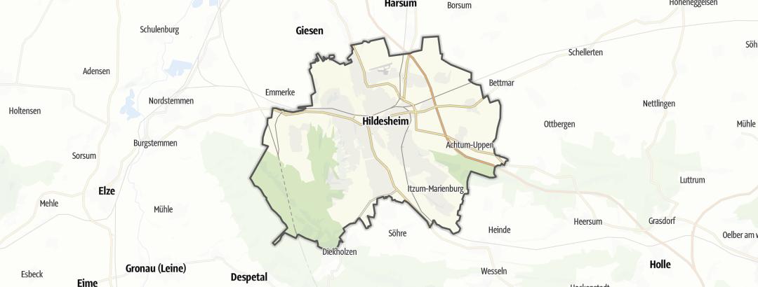 Kartta / Maantiepyöräilyreitit kohteessa Hildesheim