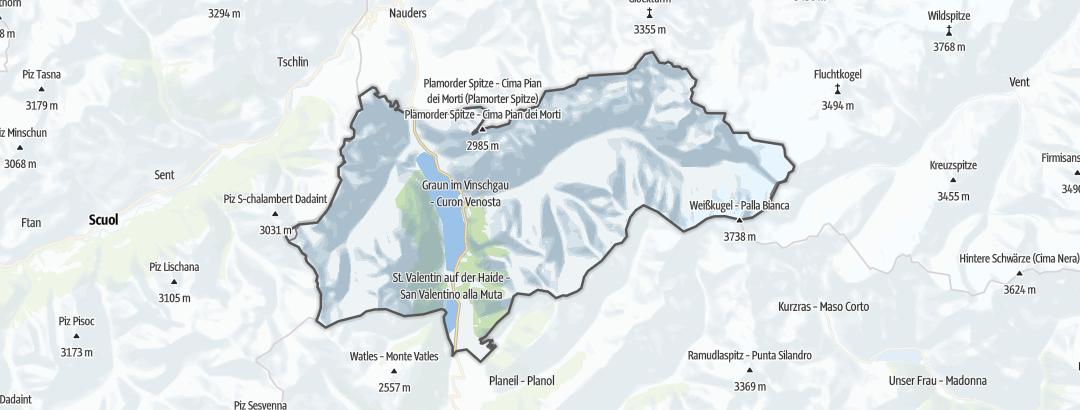 Kart / Alpin topptur i Graun im Vinschgau