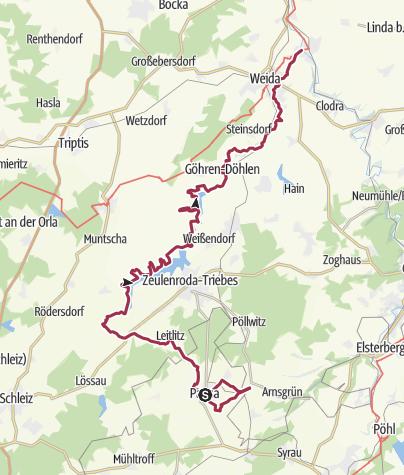 Karte / Weidatalweg - Unterwegs vom Quellgebiet bis zur Mündung der Weida