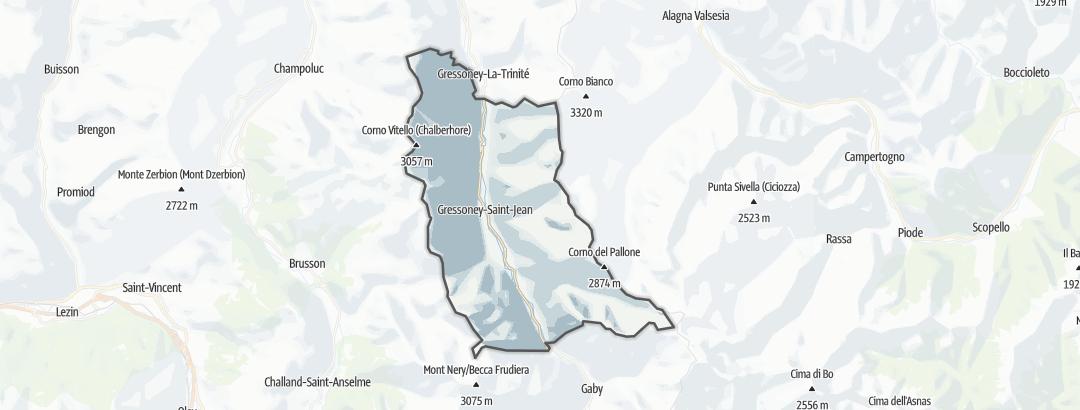 地图 / 在Gressoney-Saint-Jean里的登山