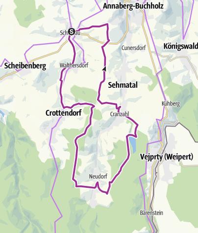 Karte / Karzl-Tour von Neudorf nach Schlettau und zurück