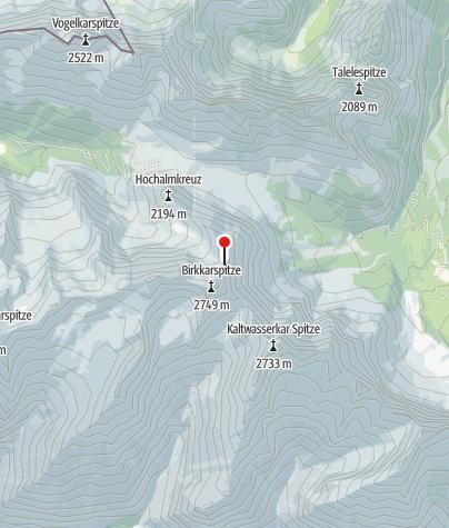 Map / Namenloser Sattel zwischen Birkkarspitze und Schlauchkarkopf