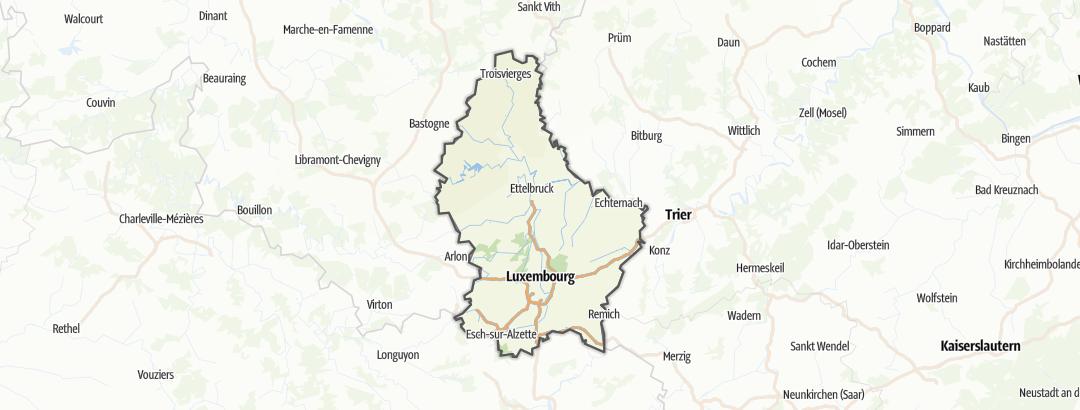 Kartta / Maastopyöräilyreitit Luxemburgissa