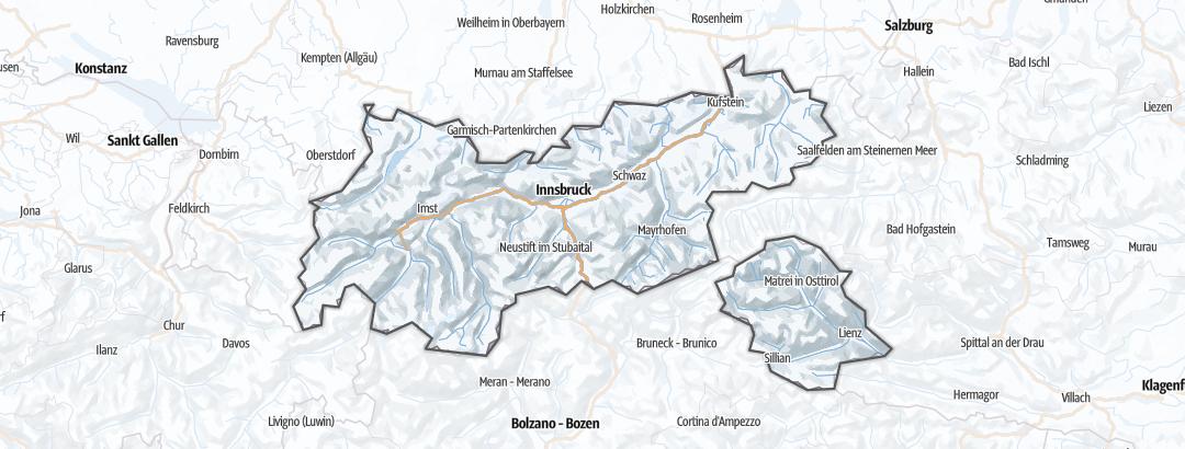 Kartta / Talviretkeilyreitit kohteessa Tyrol