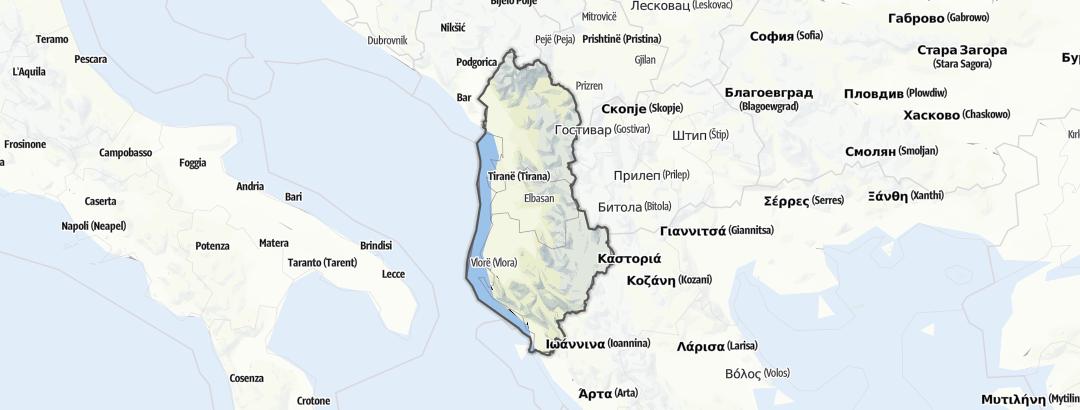 Mapa / Dovolená se psem v oblasti Albánie