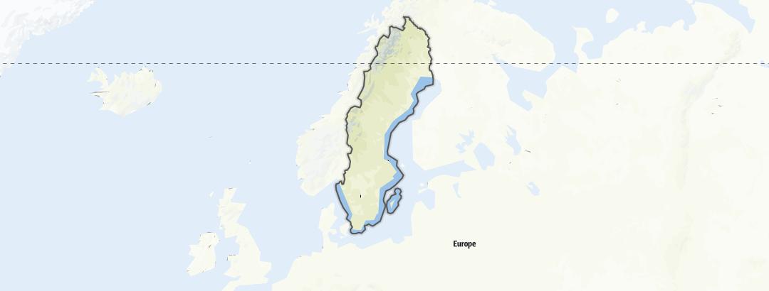 Mapa / Rotas de mountain bike em Suécia