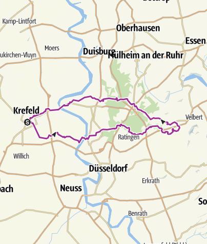 Krefeld Karte.Ins Angerbachtal Ab Krefeld Hbf Radtour Outdooractive Com