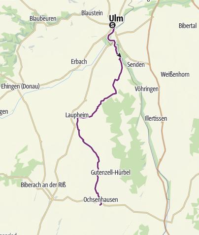 Mapa / Oberschwaben-Allgäu-Radweg - Etappe 1 von Ulm nach Ochsenhausen