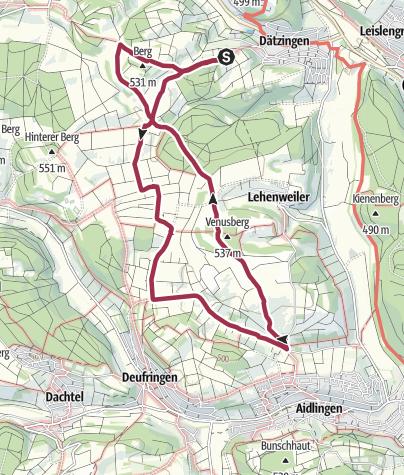 Karte / Von Dätzingen nach Aidlingen und über den Venusberg zurück