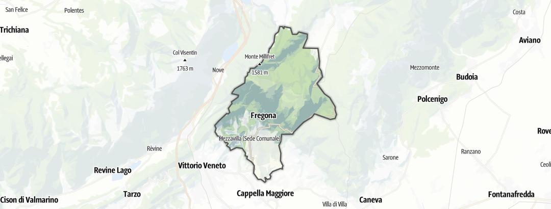 Mapa / Trilhas de caminhada em Fregona