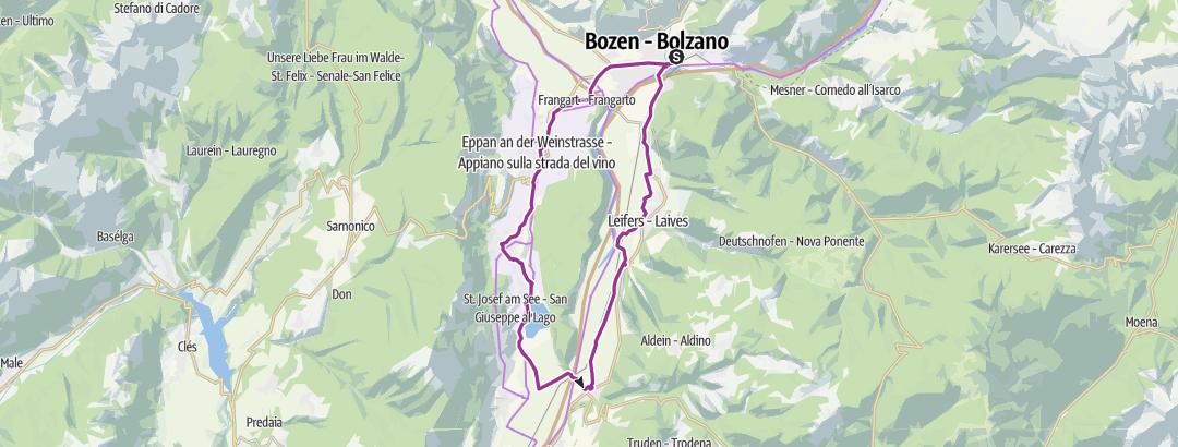 Cartina / Rund-Radtour von Bozen zum Kalterer See
