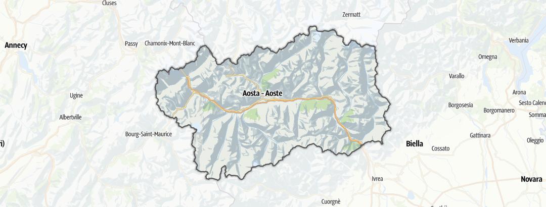 Mapa / Roteiros de escalada alpina em Valle d'Aosta