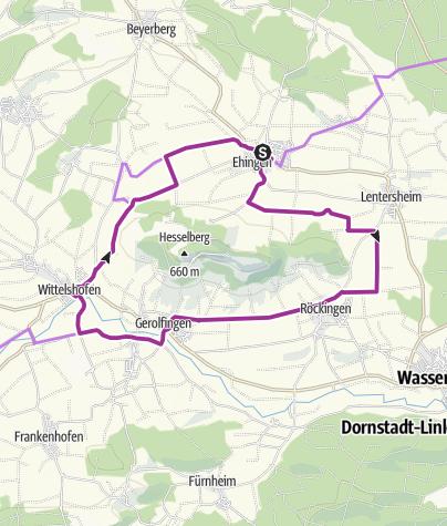 """מפה / Familienradweg """"Rund um den Hesselberg"""""""