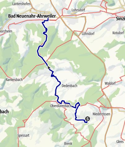 Karte / Vom Bahnhof Oberzissen über die Burg Olbrück und den Steckenberg nach Bad Neuenahr