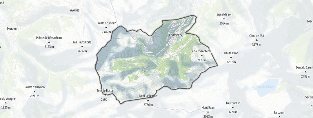 Mapa / Caminhadas de longa distância em Champéry