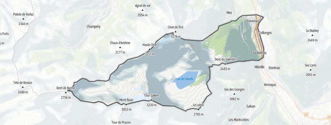 Térkép / Zarándokút,  Evionnaz területén
