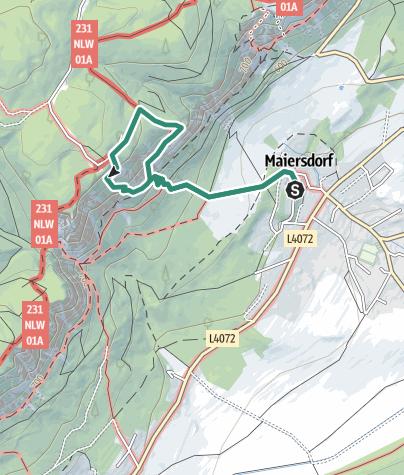 Karte / Hohe Wand: Maiersdorf <=> Gasthof Luf