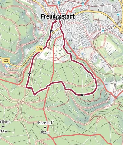 Karte / Freudenstadt: Größere Runde auf Fußpfaden zur Berghütte Lauterbad