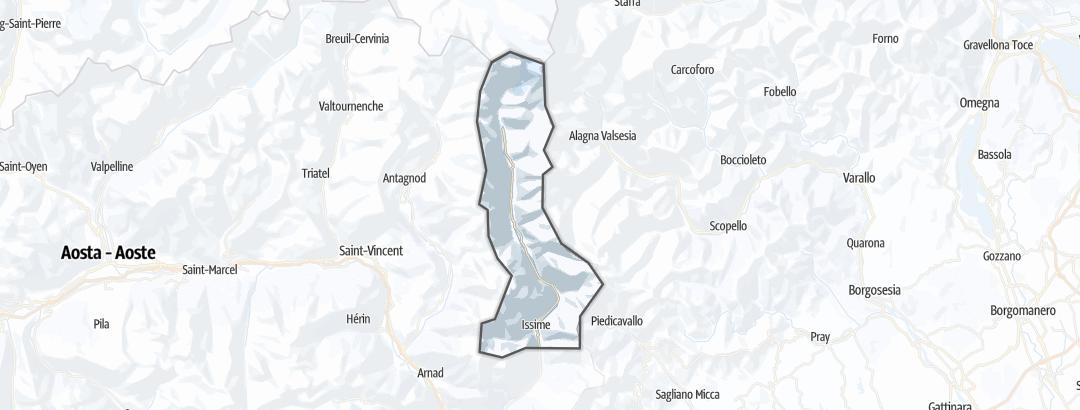 Mapa / Rotas de Ski Livre  em Mount Rosa Walser