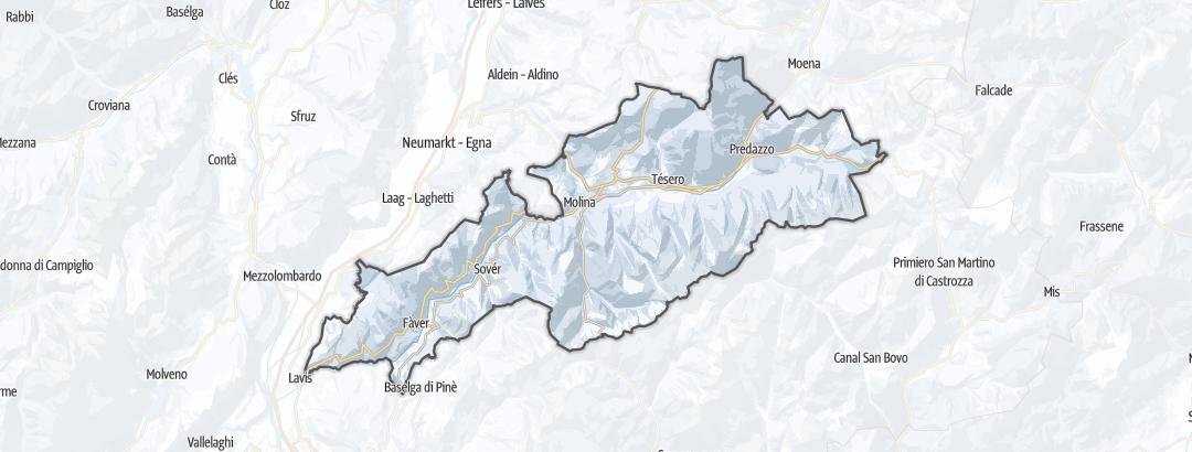 地图 / 在Val di Fiemme里的越野滑雪