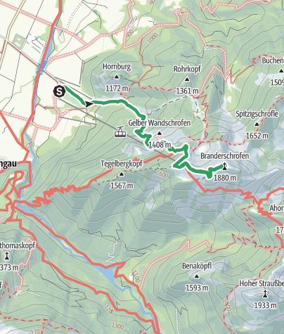 Karte / Über die Gelbe Wand auf den Tegelberg und die Branderschrofen