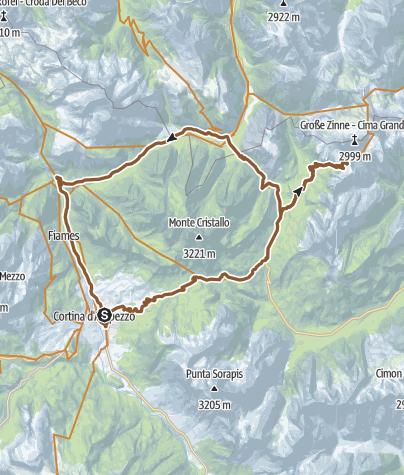Karte / Tre Croci Pass in den Dolomiten