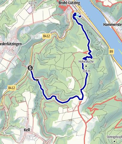 Karte / Vom Haltepunkt Schweppenburg über die Hohe Buche nach Brohl