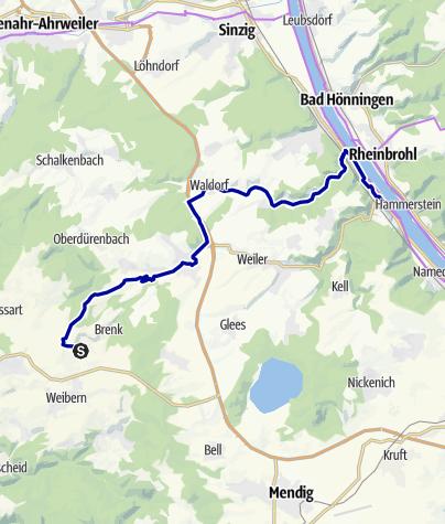 Karte / Auf dem Brohltalradweg von Engeln entlang der Burg Olbrück nach Niederzissen und weiter durch das Vinxtbachtal nach Bad Breisig