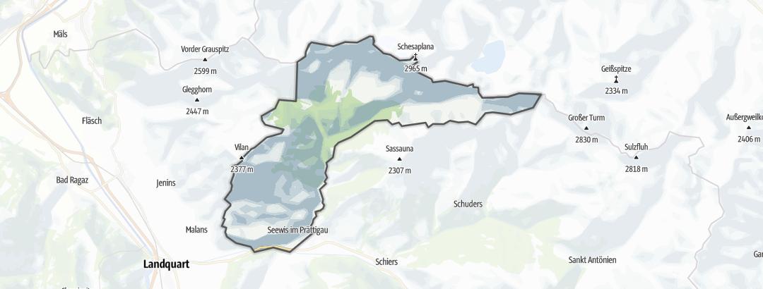 Hartă / Trasee de ciclism montan in Seewis im Prättigau