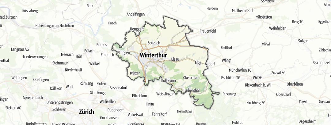 Mapa / Pěší turistika v oblasti Winterthur