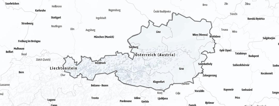 Karte / Skidurchquerungen in Österreich