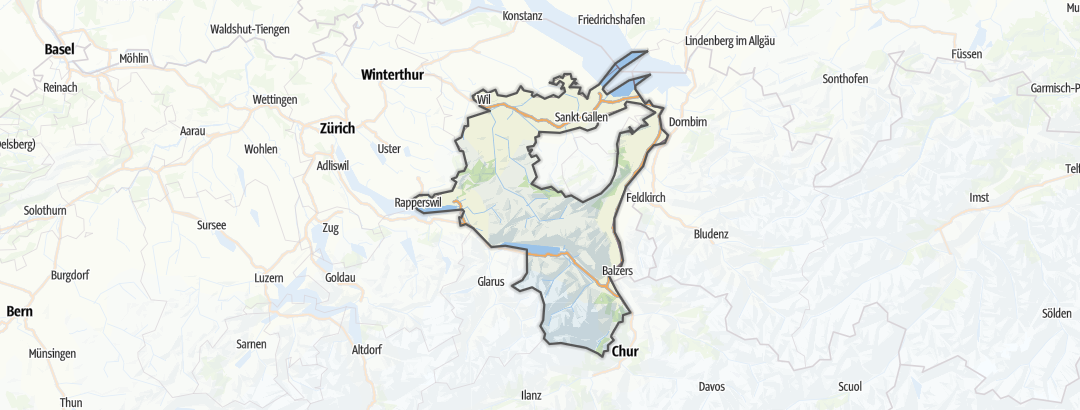 Map / Road cycling routes in Sankt Gallen