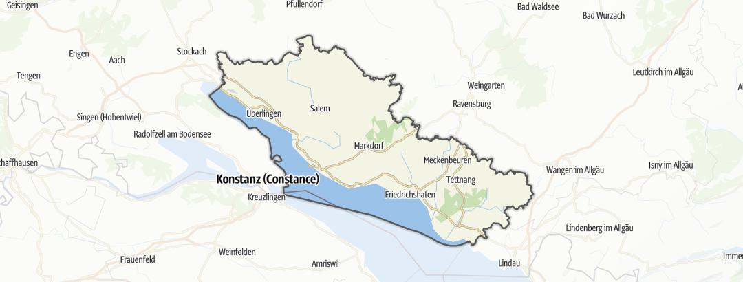 מפה / מסלולי אופני כביש במחוז אגם בודנזה