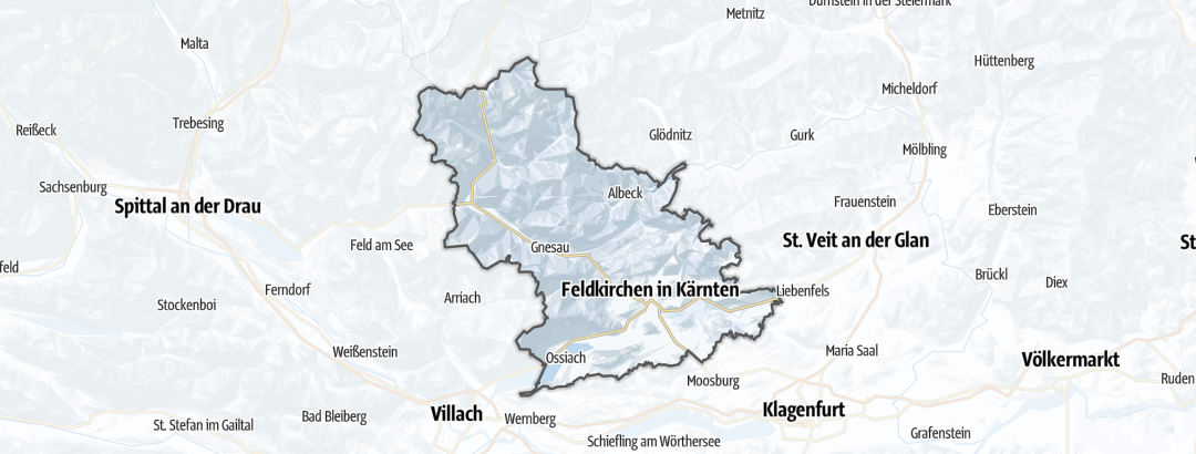 Mapa / Běžkařské trasy v oblasti Feldkirchen