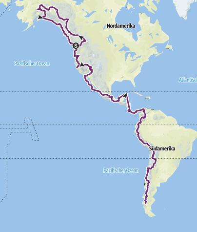 Hartă / From Alaska to South America by bike