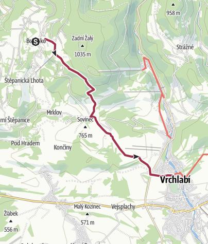 Map / PRES KNEZICE DO VRCHLABI