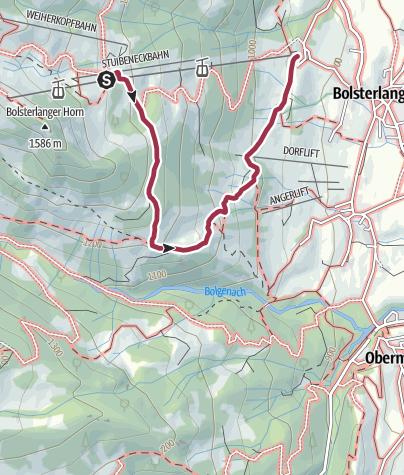 Karte / Wanderung zum Sonderdorfer Kreuz ab Bolsterlang