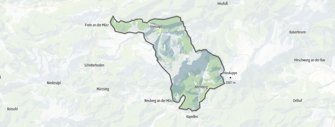 Kartta / Vuorikiipeilyreitit kohteessa Altenberg an der Rax